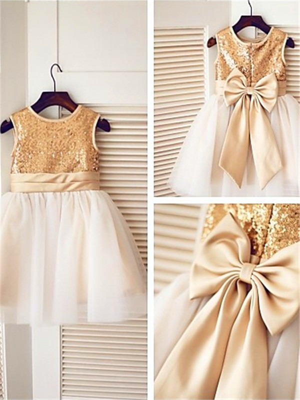 Gold A-Line Scoop Knee-Length Flower Girl Dresses with Sequin
