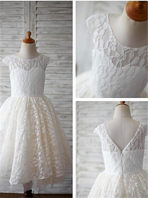 A-Line Scoop Tea-Length Ivory Flower Girl Dresses