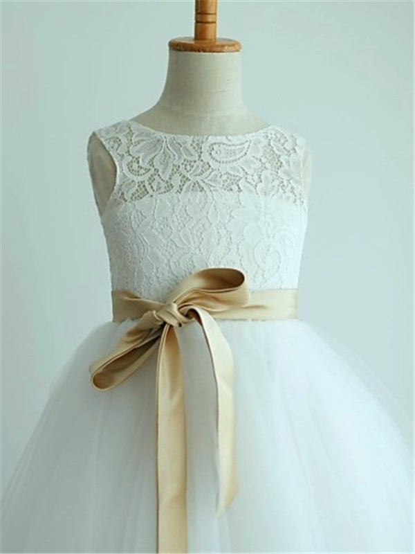A-line/Princess Scoop Sleeveless Sash/Ribbon/Belt Floor-Length Tulle Flower Girl Dresses