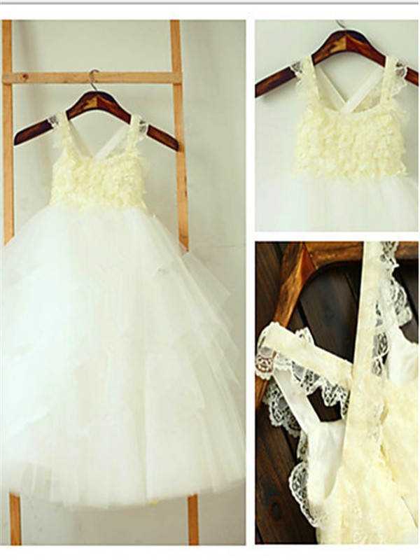 Ball Gown Square Tea-Length Ivory Flower Girl Dresses