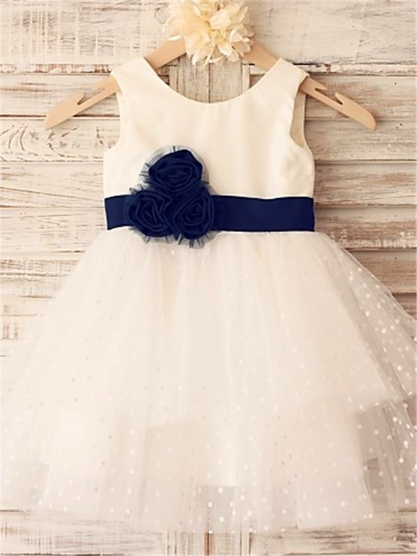 Tea-Length Ivory Scoop Flower Girl Dresses with Hand-Made Flower