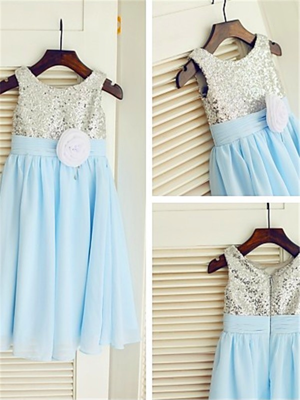 Chiffon A-Line Tea-Length Scoop Light Sky Blue Flower Girl Dresses