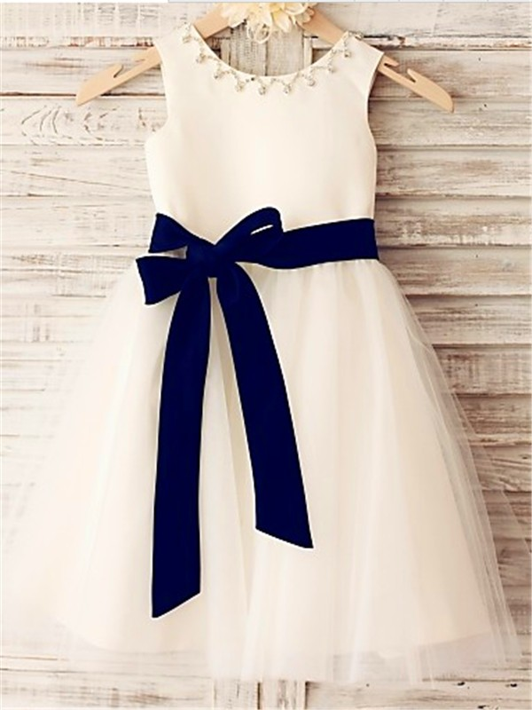 White Scoop Tulle Tea-Length Flower Girl Dresses