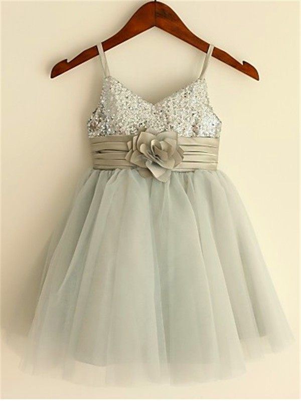 A-Line Spaghetti Straps Tea-Length Silver Flower Girl Dresses