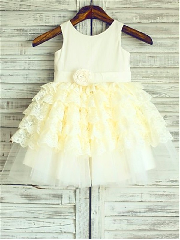 Ball Gown Lace Scoop Tea-Length Flower Girl Dresses with Layers