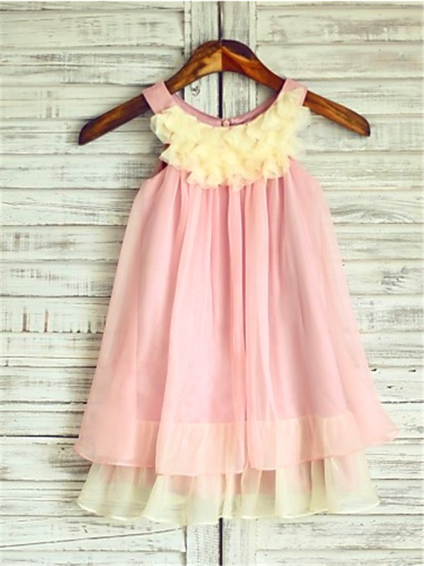 Pink A-Line Straps Tea-Length Flower Girl Dresses with Ruched
