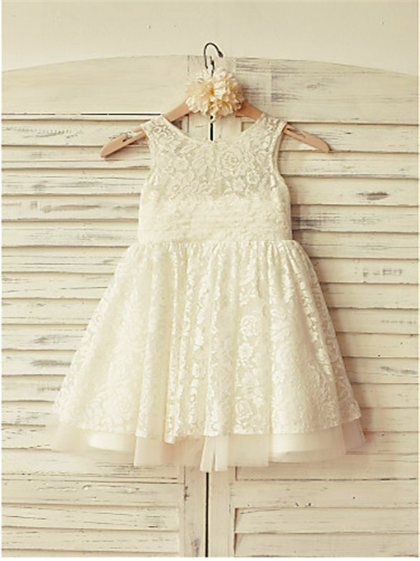 A-line/Princess Scoop Sleeveless Ruffles Tea-Length Lace Flower Girl Dresses