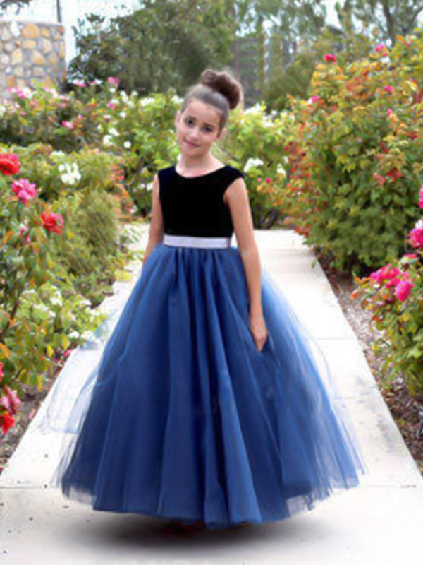 A-Line Scoop Ankle-Length Royal Blue Tulle Flower Girl Dresses