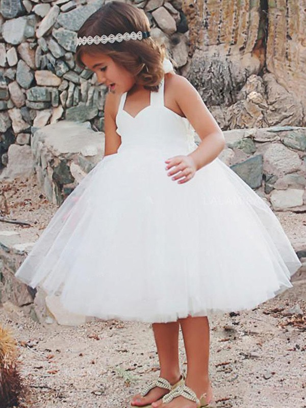 A-Line Halter Tea-Length Ruffles White Flower Girl Dresses
