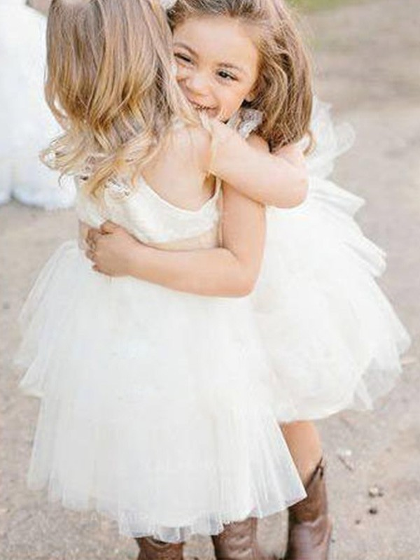 A-Line Square Knee-Length Ivory Tulle Flower Girl Dresses