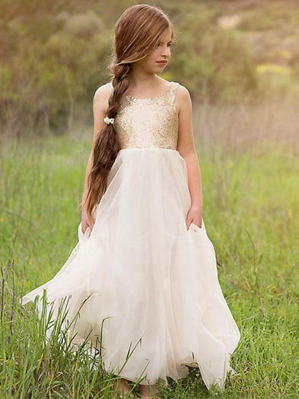 A-Line Scoop Floor-Length Ivory Sequin Tulle Flower Girl Dresses