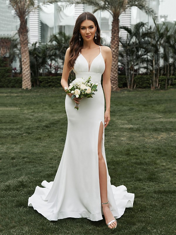 Sheath/Column Satin Ruffles Halter Sleeveless Sweep/Brush Train Wedding Dresses