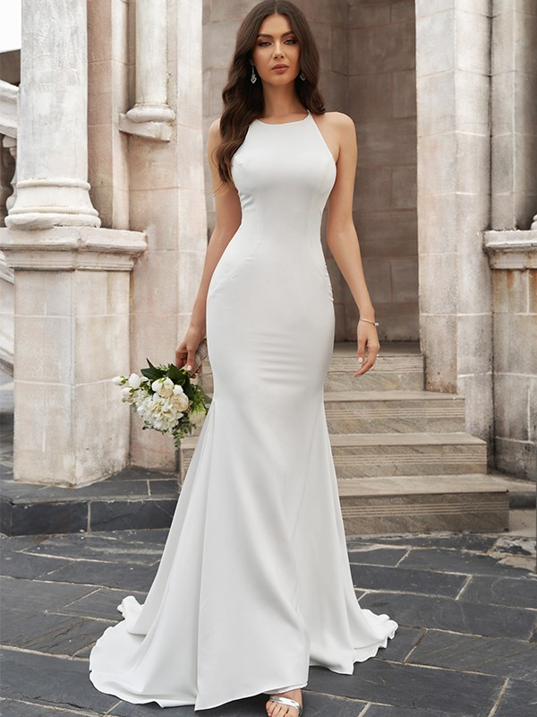 Trumpet/Mermaid Scoop Ruched Satin Sleeveless Sweep/Brush Train Wedding Dresses