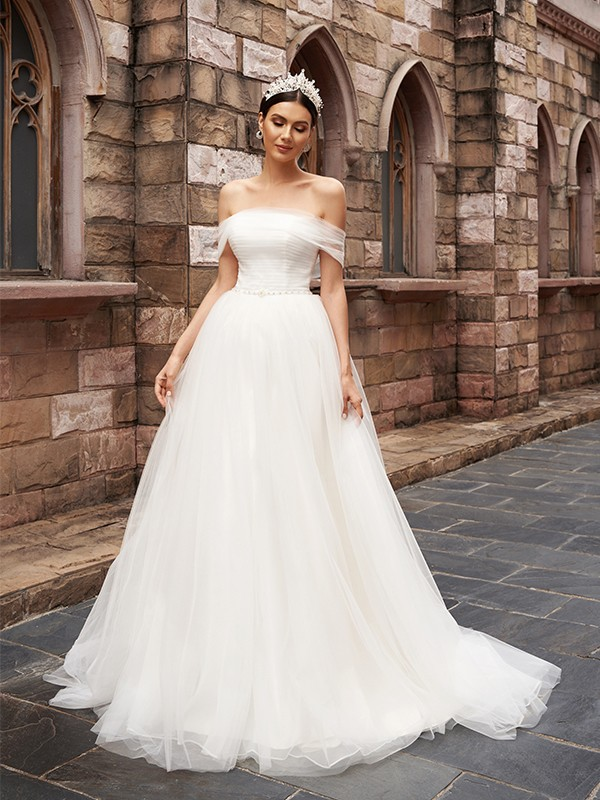 A-Line/Princess Tulle Sleeveless Off-the-Shoulder Ruched Sweep/Brush Train Wedding Dresses