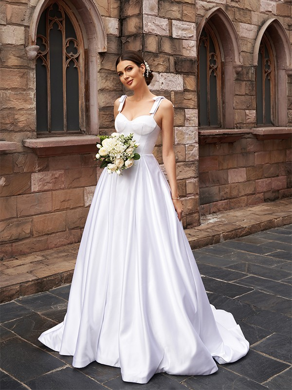 A-Line/Princess Satin Ruffles Straps Sleeveless Sweep/Brush Train Wedding Dresses