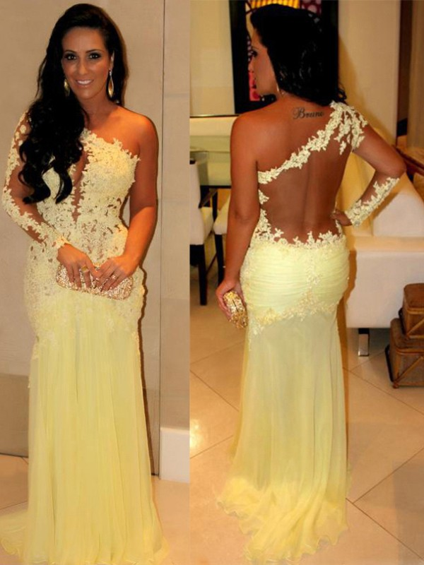 Chiffon One-Shoulder Brush Train Yellow Prom Dresses