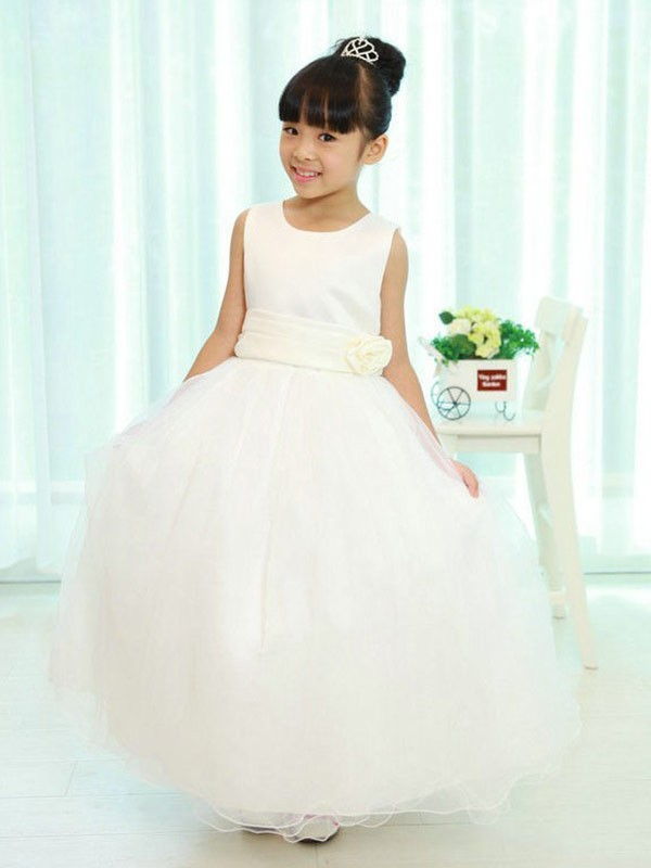 A-Line Scoop Floor-Length White Flower Girl Dresses