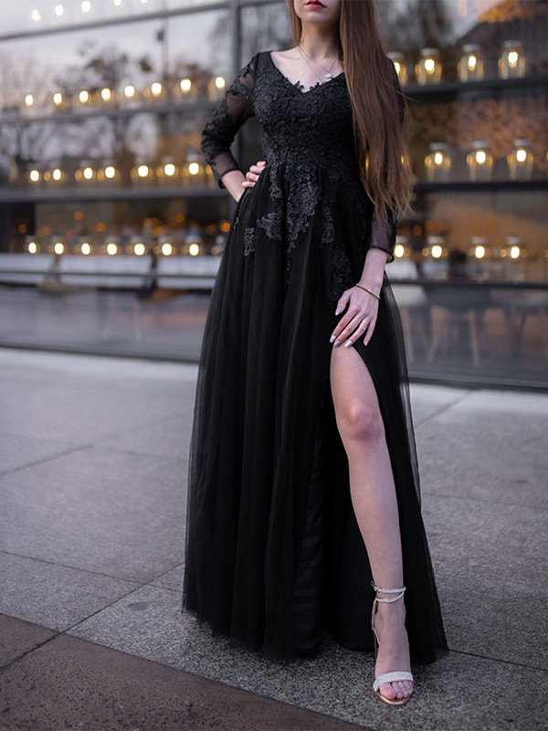 Ball Gown Tulle Long Sleeves Applique Off-the-Shoulder Floor-Length Dresses