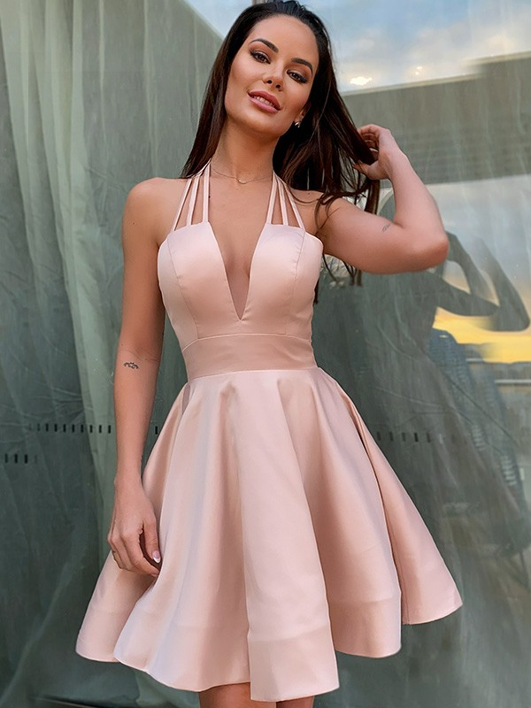 A-Line/Princess Satin Ruffles Sleeveless Spaghetti Straps Short/Mini Homecoming Dresses