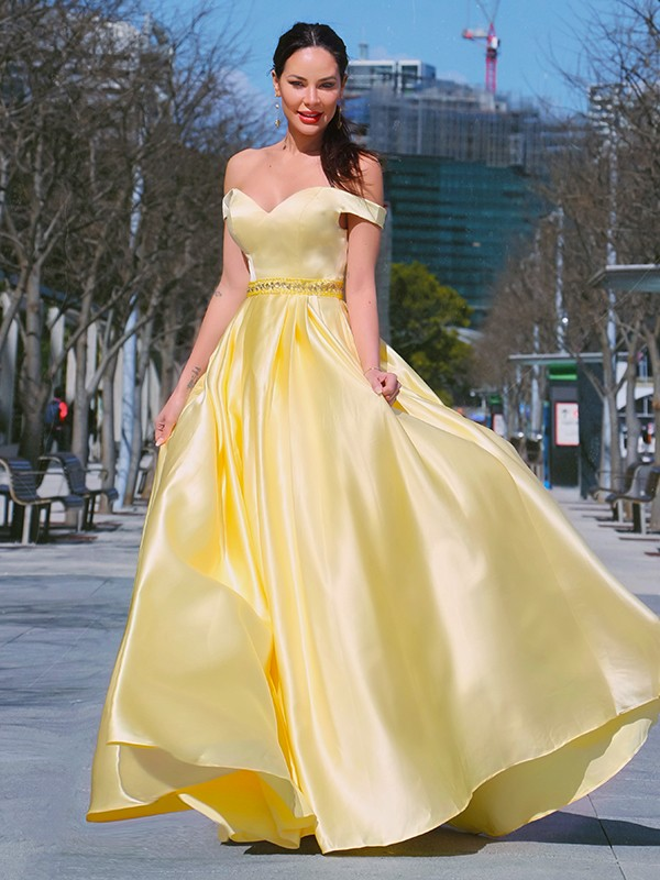 A-Line/Princess Sleeveless Off-the-Shoulder Satin Ruffles Floor-Length Dresses