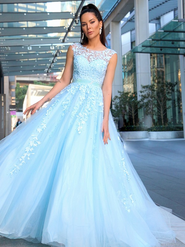 A-Line/Princess Scoop Sleeveless Tulle Applique Sweep/Brush Train Dresses