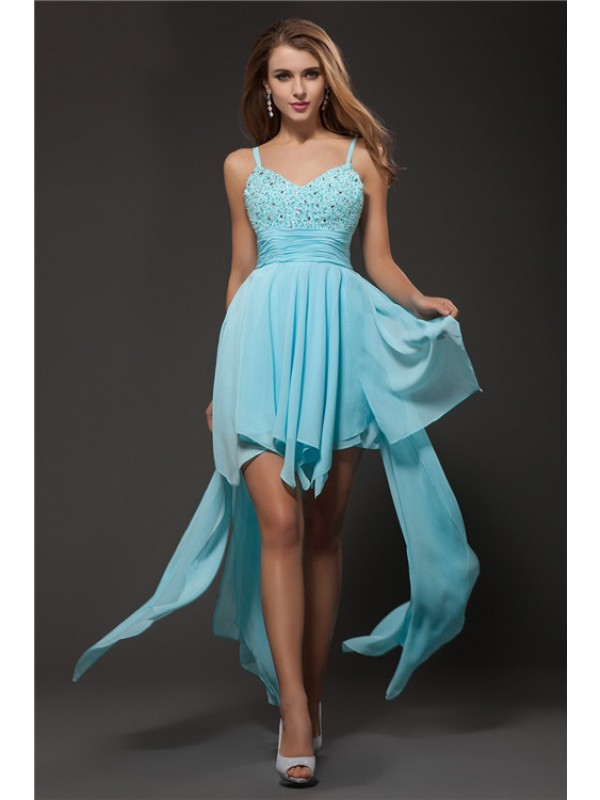 A-Line Spaghetti Straps Asymmetrical Multi Colors Homecoming Dresses