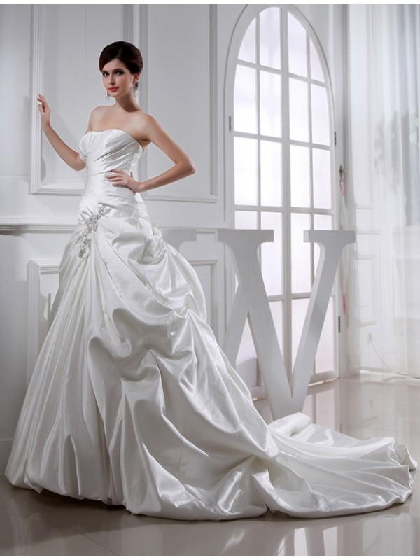 White A-Line Strapless Chapel Train Wedding Dresses with Beading