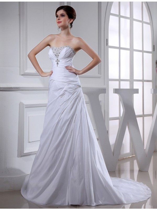 White Strapless Taffeta Court Train Wedding Dresses