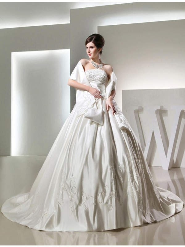 Strapless Chapel Train White Wedding Dresses with Beading