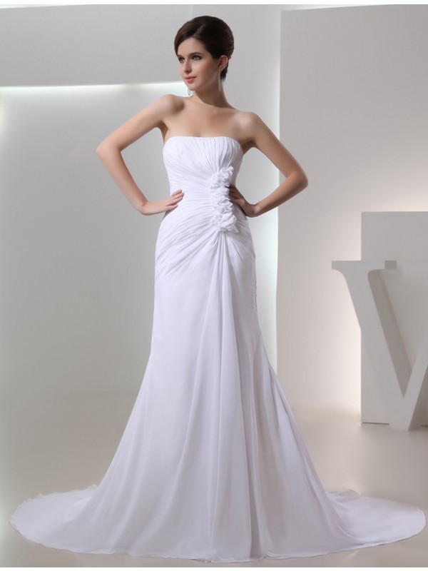 Chiffon Strapless Chapel Train White Wedding Dresses