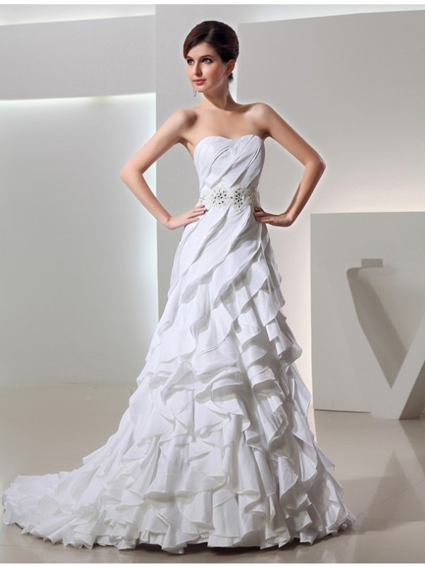 A-Line Taffeta Sweetheart Court Train Wedding Dresses with Beading