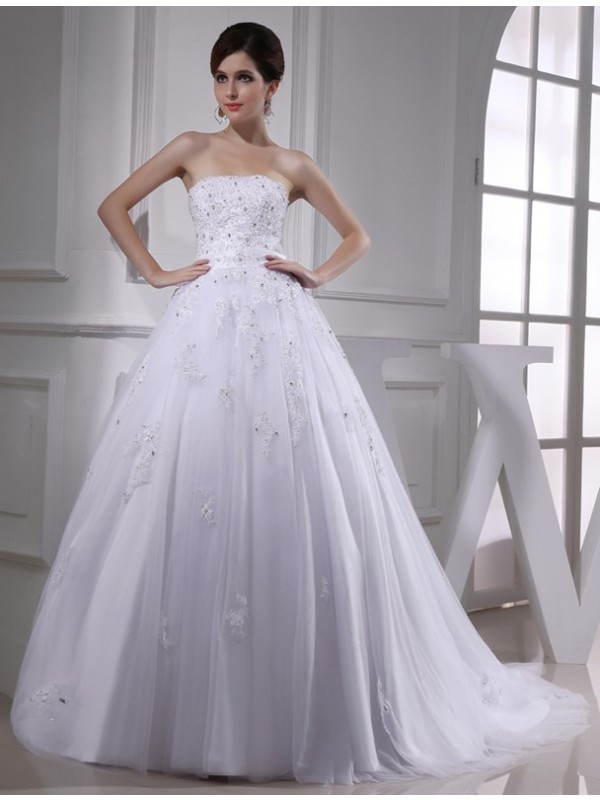 White Strapless Satin Chapel Train Wedding Dresses
