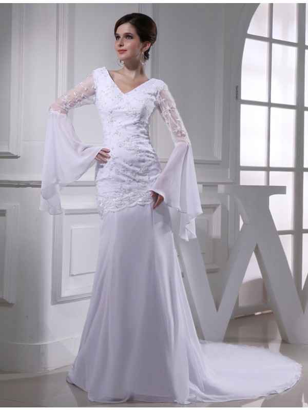 Mermaid Long Sleeves V-neck Chapel Train White Wedding Dresses