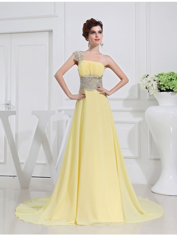 A-Line One-Shoulder Brush Train Daffodil Prom Dresses