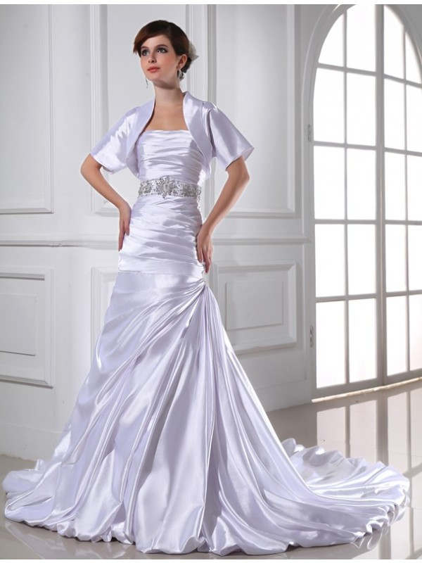Mermaid Elastic Woven Satin Strapless Chapel Train White Wedding Dresses