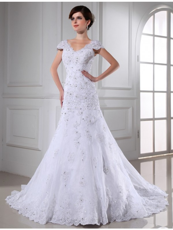 Organza V-neck Chapel Train White Wedding Dresses