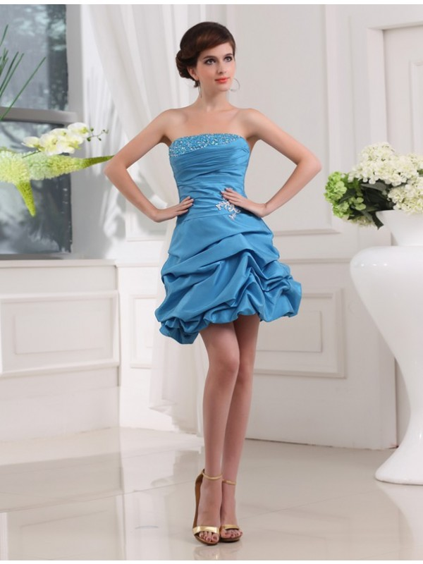A-Line Strapless Short/Mini Blue Homecoming Dresses