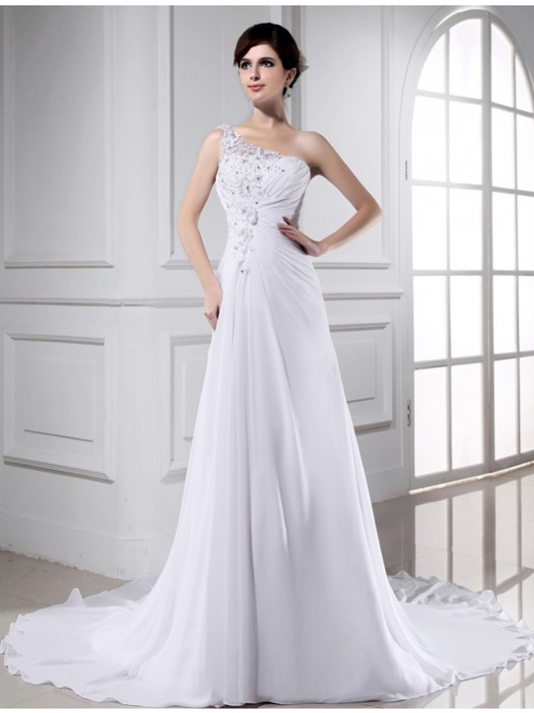 A-Line One-Shoulder Chapel Train White Wedding Dresses with Beading