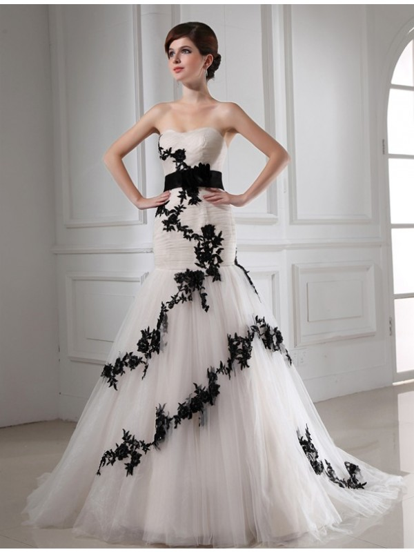 Mermaid Sweetheart Court Train Black Wedding Dresses