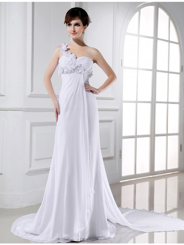 Court Train White One-Shoulder Wedding Dresses with Beading
