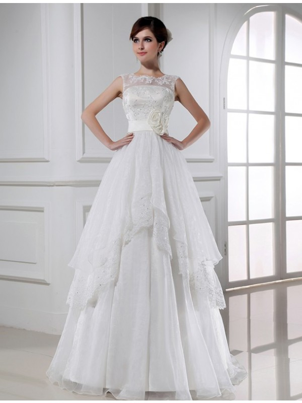 A-Line High Neck Floor-Length White Wedding Dresses