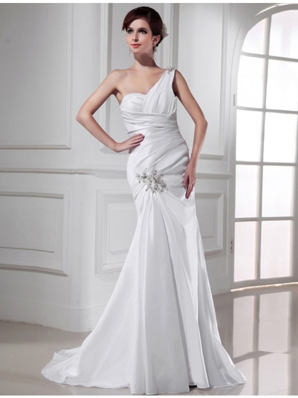 White Mermaid One-Shoulder Brush Train Wedding Dresses with Beading