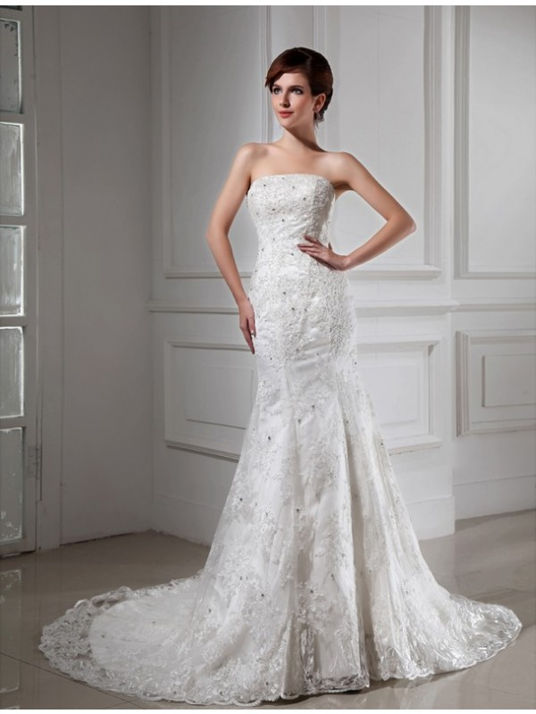 Mermaid Strapless Chapel Train White Wedding Dresses