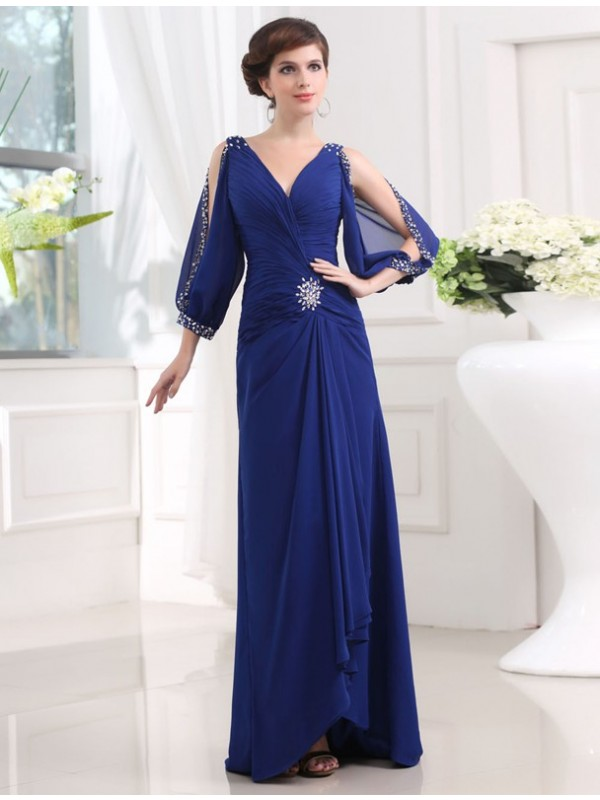 Floor-Length Royal Blue 3/4 Sleeves V-neck Prom Dresses with Beading