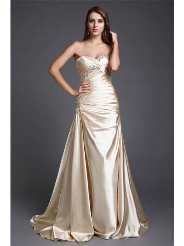 A-Line Elastic Woven Satin Sweetheart Brush Train Prom Dresses with Beading