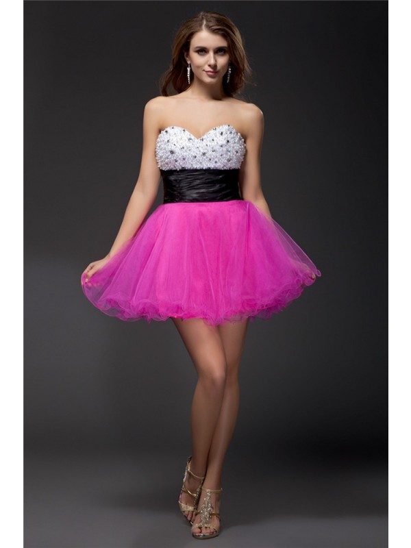 Elastic Woven Satin Sweetheart Short/Mini Multi Colors Homecoming Dresses