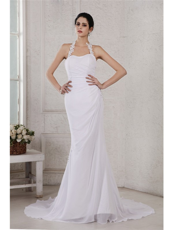 Chiffon Halter Court Train White Wedding Dresses