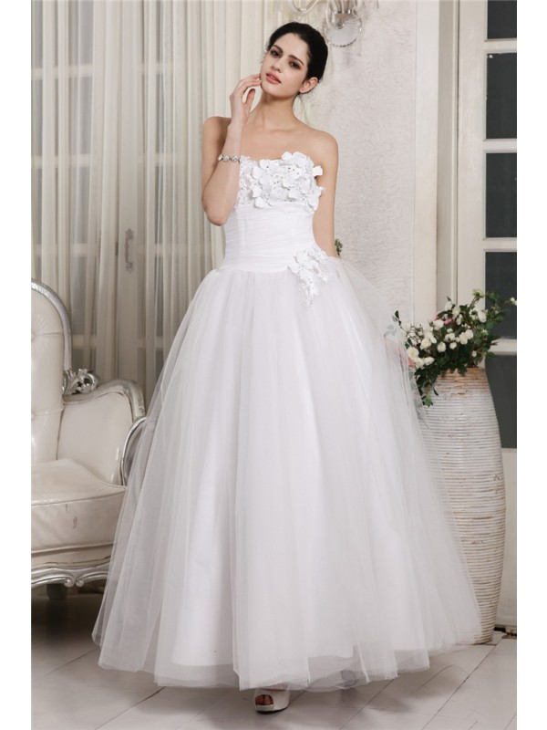 Ball Gown Sweetheart Ankle-Length White Wedding Dresses