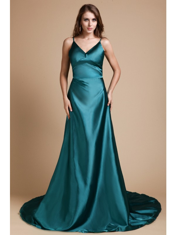 Spaghetti Straps Brush Train Hunter Green Prom Dresses with Ruffles