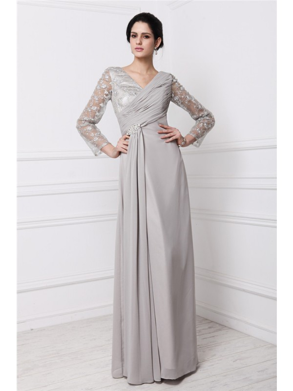 Sheath Chiffon Long Sleeves V-neck Floor-Length Prom Dresses with Lace